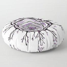 Watercolor Tree Ring, Purple Floor Pillow