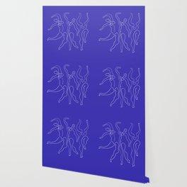Picasso Line Art - Dancers - Blue Background Wallpaper
