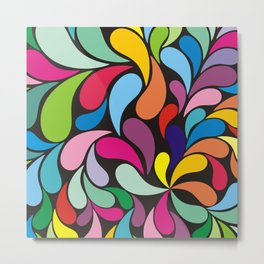 Rainbow colorful paisely on black Metal Print