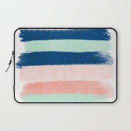 Stripes painterly pastel trendy color way modern home decor dorm nursery style Laptop Sleeve