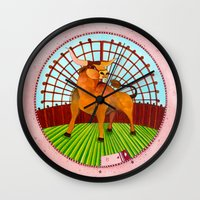 taurus Wall Clocks featuring Taurus by Sandra Nascimento