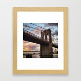 Brooklyn Bridge Sunset Framed Art Print