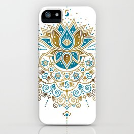 Sacred Lotus Mandala – Teal & Bronze Palette iPhone Case