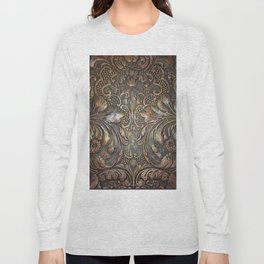 Golden Brown Carved Tooled Leather Long Sleeve T-shirt