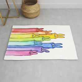 Rainbow of Bunny Rabbits Watercolor Rug