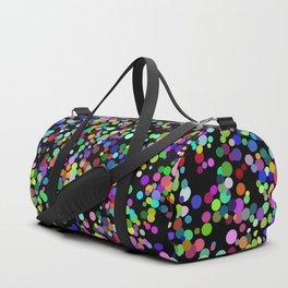 Rainbow confetti on a black blackground Duffle Bag