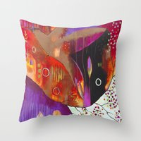 "flora bowley Throw Pillows featuring ""Reflect You"" Original Painting by Flora Bowley by Flora Bowley"