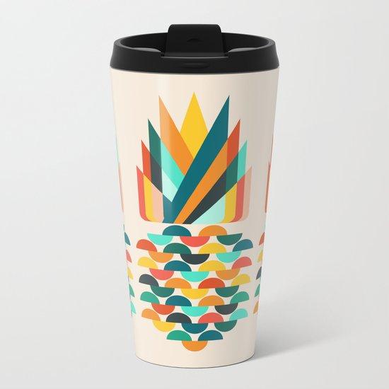 Groovy Pineapple Metal Travel Mug