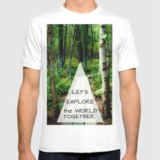 Let's Explore the World Together - Color Mens Fitted Tee SMALL White