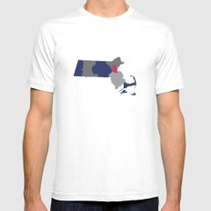 Massachusetts State Map Print Mens Fitted Tee White MEDIUM