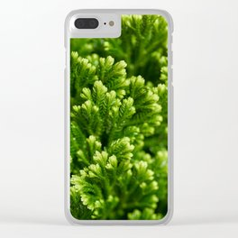 Green floral background Clear iPhone Case