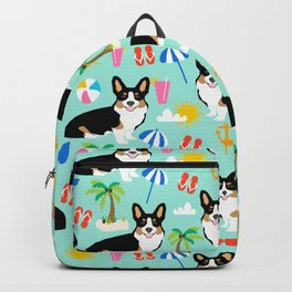 Tricolored Corgi Beach Day - cute tri corgi beach summer sun pattern Backpack