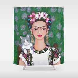 Frida cat lover closer Shower Curtain