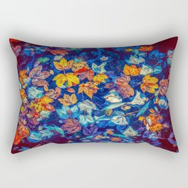 Blue Fall Leaves Autumn Nature Photography Art Rectangular Pillow