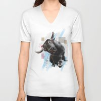 bull V-neck T-shirts featuring bull by e12art