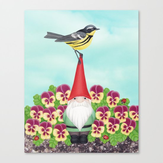 gnome with magnolia warbler and pansies Canvas Print