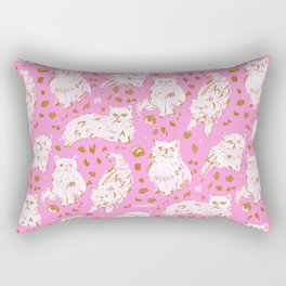 FRED the Kitty Pink Gold Chic Persian Cat Rectangular Pillow