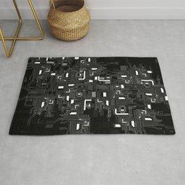 Black Motherboard Geek Decor Rug