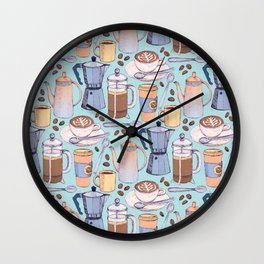 Coffee Love on Blue Wall Clock