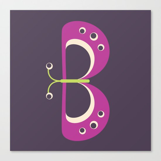 Letter B // Animal Alphabet // Butterfly Monogram Canvas Print