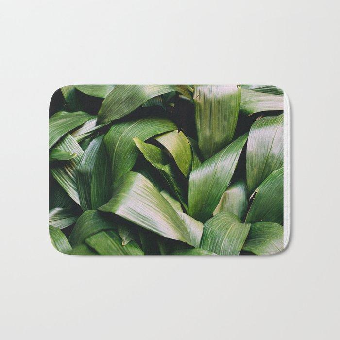 Green Leaves Closeup Pattern Bath Mat