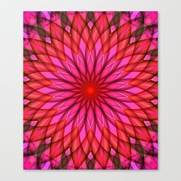 Pink,red and fuchsia color mandala Canvas Print