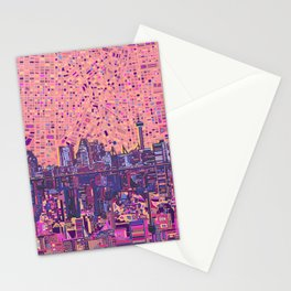 san antonio city skyline abstract 5 Stationery Cards
