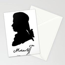 Wolfgang Amadeus Mozart (1756 -1791) silhouette, engraved by Hieronymous Löschenkohl, 1785 Stationery Cards