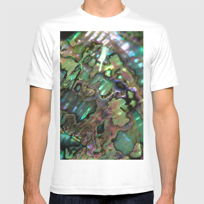 161038ba Oil Slick Abalone Mother Of Pearl T-shirt by themermaidlagoon | Society6