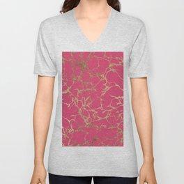Elegant modern faux gold neon pink marble pattern Unisex V-Neck