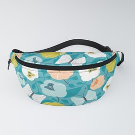 Butterfly Blossom Floral Turquoise Fanny Pack