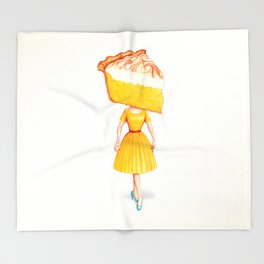 Cake Head Pin-Up - Lemon Throw Blanket
