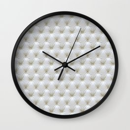 Faux White Leather Buttoned Wall Clock