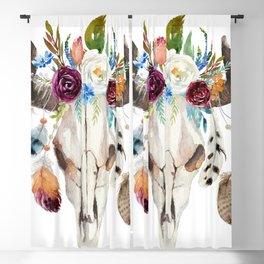 Dreamcatcher skull feathers & flowers Blackout Curtain