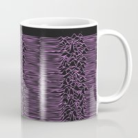 joy division Mugs featuring Joy Division In Arabic & pink  by Sara Eshak