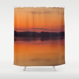 Evening Lakescape Orange Sunset Sky Reflection #decor #society6 #buyart Shower Curtain