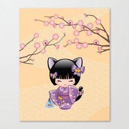 Japanese Neko Kokeshi Doll V2 Canvas Print