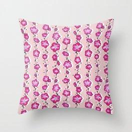 Raspberry Crush Wildflower Throw Pillow