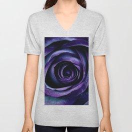 Purple Blue Rose Bloom Unisex V-Neck