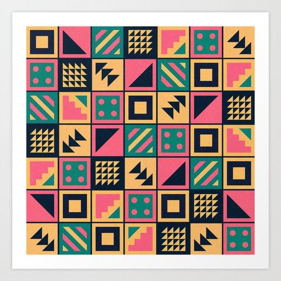Colorful Geometric Floor Tile Pattern Art Print