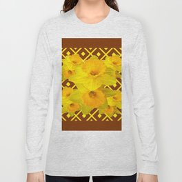 Coffee Brown Pattern of Golden Daffodils Art Long Sleeve T-shirt
