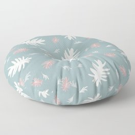 Palms pattern Aquamarine white pink autumn fall tropical Christmas society6 Floor Pillow