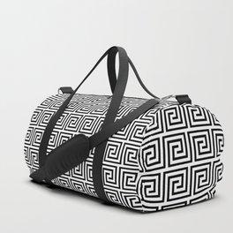 Large Black and White Greek Key Interlocking Repeating Square Pattern Duffle Bag