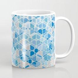 Cubes & Diamonds in Blue & Grey  Coffee Mug