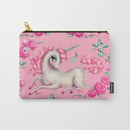 Unicorns and Roses on Pink Carry-All Pouch