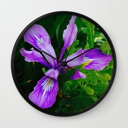 Wild Purple Iris Wall Clock