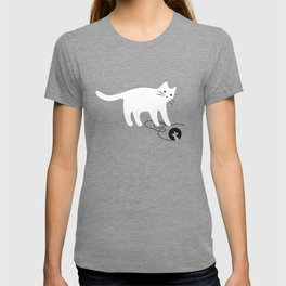White Cat and Mouse Playing Seek and Hide T-shirt