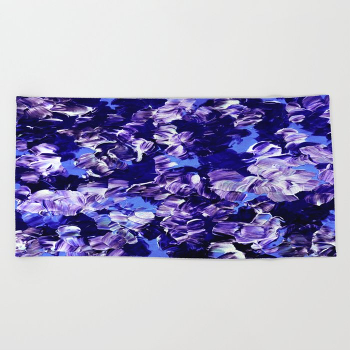 FLORAL FANTASY 2 Bold  Blue Lavender Purple Abstract Flowers Acrylic Textural Painting Garden Art Beach Towel