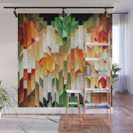 Geometric Tiled Orange Green Abstract Design Wall Mural
