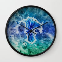 mineral Wall Clocks featuring MINERAL MAZE by Catspaws